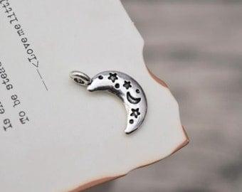 19 antique silver moon charms half moon charm pendant pendants  (X03)