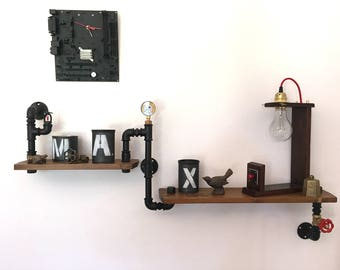 Two-storey Steampunk-style industrial shelf in hydraulic pipes.