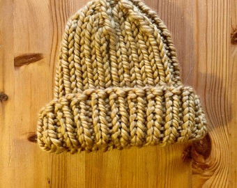 Gold Ribbed Ski Cap