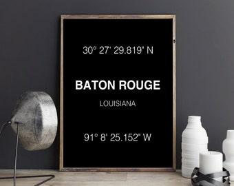 Baton Rouge Print City Print Baton Rouge Coordinates Art Print Wall Art