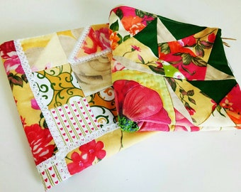SET OF PILLOWCASES/patchwork/cotton/handmade/decorative/bedding/beige/easter/mother/home/pillow