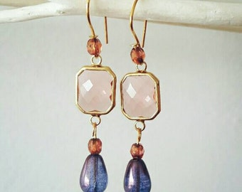 Mother, pink and blue earrings earrings earrings plated gold, pink faceted glass,