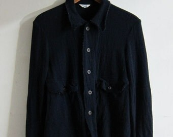 45R 45rpm Navy Boiled Wool Shirt Japan