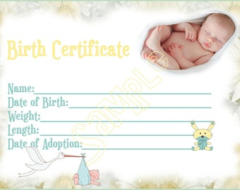 Birth certificate etsy for Baby doll birth certificate