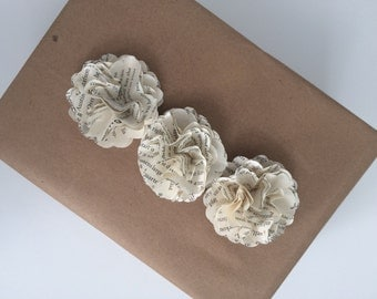 "Small 2"" Book Page Flower Embellishments, small paper flowers, anniversary and engagement,"