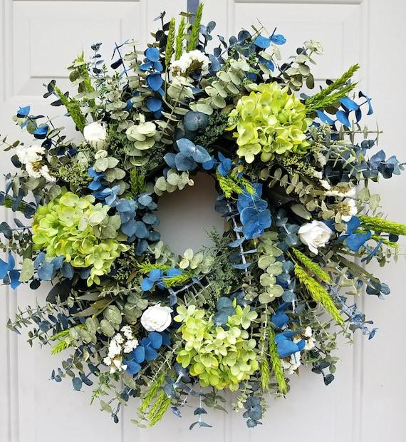 "Preserved eucalyptus wreath, 20"" wreath, flower wreath, wall wreath, indoor wreath, door wreath, dried wreath, blue wreath, baby wreath"