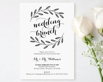 Printable Wedding Brunch Invitation, Post Wedding Brunch Invite, Rustic, Instant Download, Editable Text, PDF Template, Digital, DIY #103WB