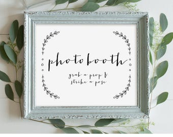 Photo Booth Sign, Printable Wedding Phot Booth Sign, Photobooth Wedding Reception Sign, Rustic Laurels, Instant Download, Digital 8x10 #VW07
