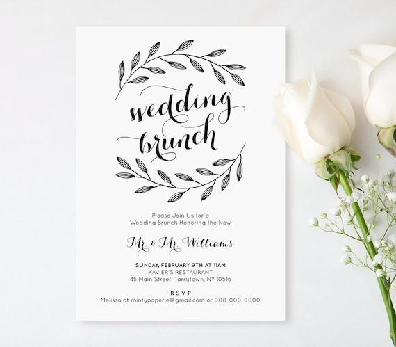Printable Wedding Brunch Invitation Post Wedding Brunch