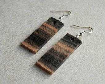 Wooden Earrings. Wood Earrings Hand Crafted From Exotic Black and White Ebony Wood. All Natural Color.