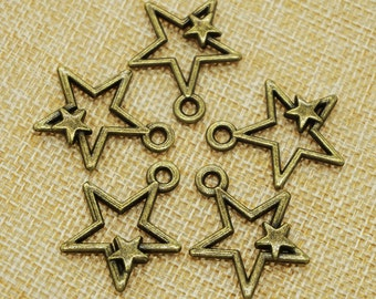 Star Charms -20 pieces Antique Bronze Empty Stars Charm Pendants 27mm x 33 mm (501-19)