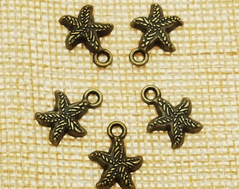 Star Charms -50 pieces Antique Bronze Empty Stars Charm Pendants 13mm x 10 mm (501-13-A)