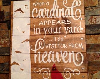 Cardinal sign- memorial sign- custom memorial sign- wooden sign- gift for loss- cardinal memorial sign- heaven sign- memorial gift- cardinal