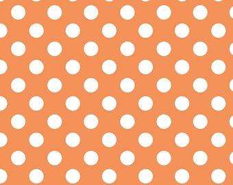 Riley Blake Medium Dots, White on Orange, fabric by the yard