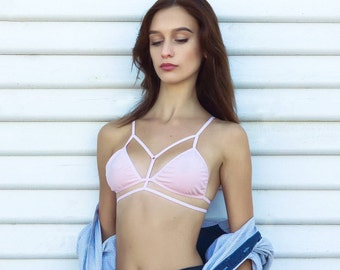 Knitwear strappy bra + panties / lingerie set / cream pink