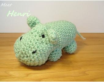 Green Crochet Hippo, Amigurumi Hippo, Stuffed Hippopotamus, Plush Hippo, Baby Toy, Hippo Stuffed Animal, Nursery Decor, Crochet Amigurumi