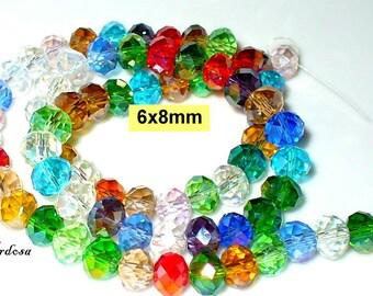 1 strand 43cm, 72 cut glass Rondelle 8x6mm (418)