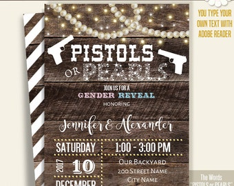 Pistols or Pearls invitation, Printable Gender Reveal template, Instant download Self Editable PDF File A257