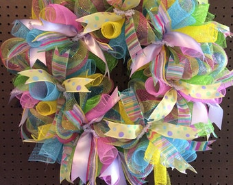 Spring Wreath/ Spring Mesh Wreath/Easter Wreath/Easter Mesh Wreath/Multicolor Wreath/Front Door Wreath