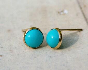 14K Real Gold Earrings, Turquoise earrings, Gold Stud Earrings, Gold Studs, Gold Jewelry, Turquoise Studs, 14k Gold Earrings