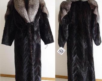 "48"" RANCH MINK TAIL coat - indigo fox trim-sz 6"