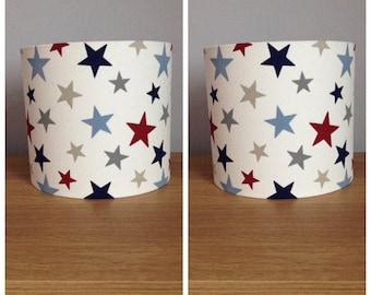 lampshades 2 x small handmade lampshades in a red, blue and grey star themed upholstery fabric 20cm