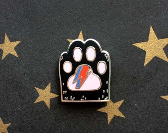 Bowie Kitty Paw - Black Cat Hard Enamel Brooch - Cat Lapel Pin - Cat Gifts - Cat Jewellery
