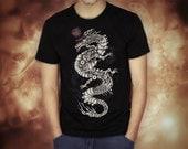 steampunk dragon black t shirt for men, screen printed men's short sleeve tee shirt, Size S, M, L, XL, XXL