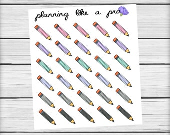Pencil Schoolwork Stickers // Planner Stickers