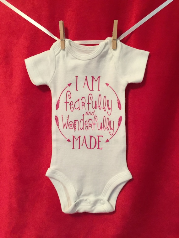 I Am fearfully and Wonderfully Made, sweet baby shower gift made for a boy or a girl, soft 100% cotton