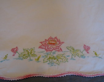 Vintage Embroidered Pillowcase with Pink Waterlilies