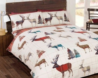 RED Woodland Stag 100% brushed cotton festive reversible duvet set