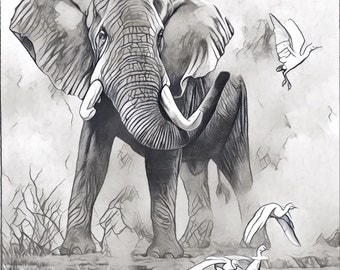 African Elephant monochrome wall art canvas .... various sizes available