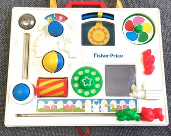 VINTAGE 1988 Fisher Price Activity Center Busy Box Baby Crib Toy Mirror Works