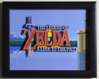 """The Legend of Zelda (SNES) - """"Title Screen"""" 3D Video Game Shadow Box with Glass Frame"""