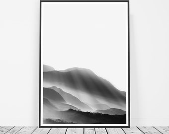 Scandinavian Print, Black and White Mountain Print, Minimalist Scandinavian Poster, Forest Print, Affiche Scandinave, Art Print