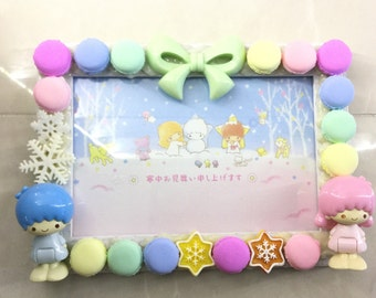 Handmade Tomy Little twin stars figurines x macaroons decoden photoframe