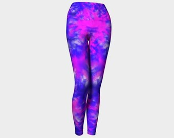 Yoga leggings, activewear, purple, blue and pink leggings, printed leggings, yoga clothing, workout leggings, yoga pants, yoga wear