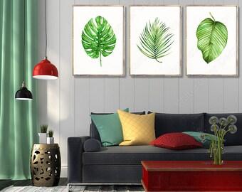 Tropical Leaf Watercolor Art Prints - Set of 3 Green Leaves Prints- Palm Leaf Botanical Art Wall Decor Office Decor Birthday Gift