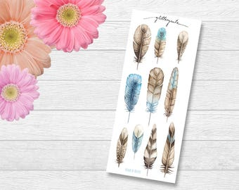 Blue Feather Boho Planner Stickers
