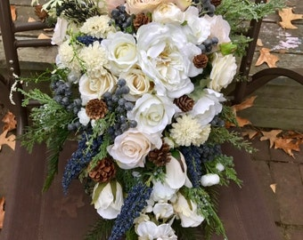 Cascading winter bridal bouquet