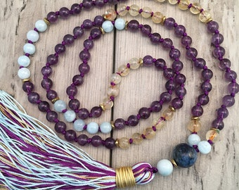 Amethyst, Aquamarine and Citrine Mala Necklace/108 Mala Beads/Hand-knotted/Silk Tassel/Boho Jewelry/Gemstone Mala Beads/Migraine Support