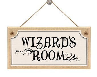 "Harry Potter Themed Hanging Wall Sign ""Wizards Room"""