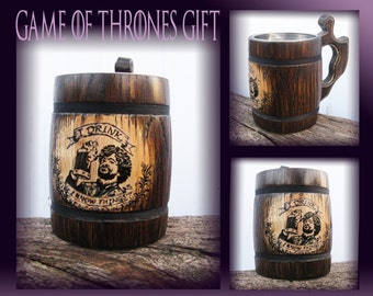 Game of Thrones Gift Personalized/I Drink and I Know Things Mug/Tyrion Lannister Mug/Tyrion/Game of Thrones mug/Wood Beer Mugs/Brother gift