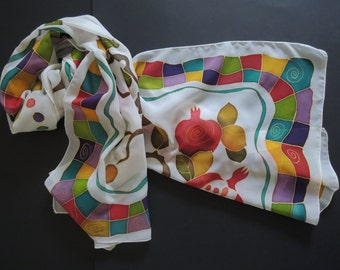 Autumn Pomegranates on White: Hand Painted Rectangular Silk Chiffon Scarf with Pomegranates and Multi Coloured Patterns