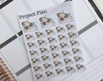 Unicorn Penny Deco Sticker Sheet (33 Project Plan Penny The Pug Decorative Stickers)