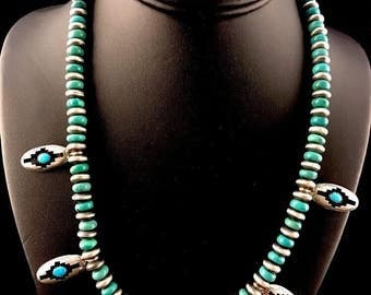 Native American Sterling Silver Turquoise Squash Blossom Shadow Box Necklace