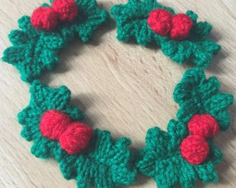 Christmas Holly Leaves and Berries, 4 Sets Christmas Holly and Berries, Christmas Decoration, Christmas Party Favours Hand Knitted Holly