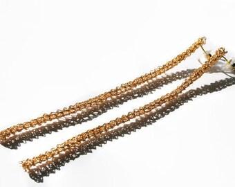 Gold Long Earrings, Minimal Elegant Fashion Earrings, Crochet Jewelry, Women Fashion Earrings,  Wire Crochet Earrings