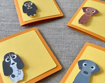 50% OFF CLEARANCE SALE !!!  Set of 4 Sitting Dog Mini Blank Cards with 4 Envelops - Blank Cards (was 4.30)